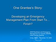 One Grantee's Story: - Readiness and Emergency Management for ...