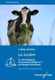 Leipzig, Germany 19. Jahrestagung Fachverband Biogas e.V. mit ...