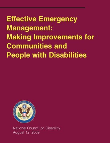 Effective Emergency Management - National Council on Disability