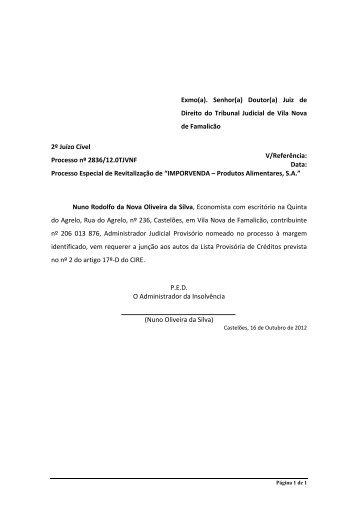 Lista Provisória de Créditos - Nuno Oliveira da Silva