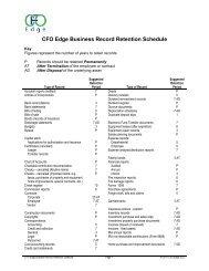 CFO Edge Business Record Retention Schedule - CFO Edge, LLC
