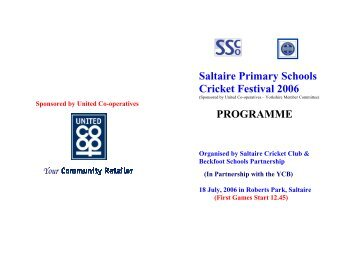 Download the cricket programme - Saltaire Village