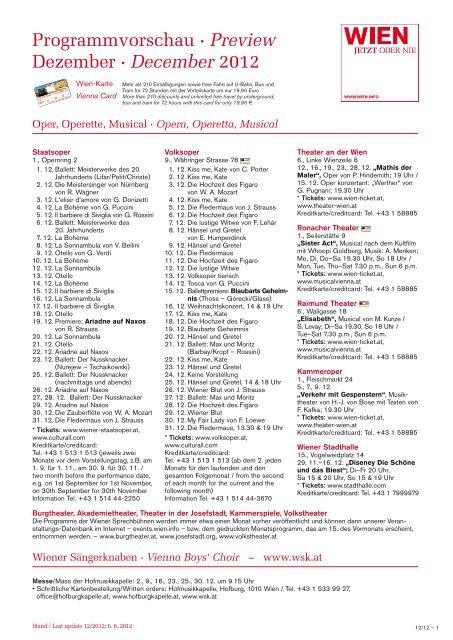 Programmvorschau · Preview Dezember · December 2012