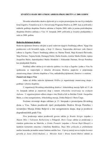 Izvješće o radu Hrvatskog arheološkog društva u 2009. godini (*.pdf)