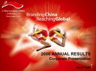 2006 Annual Results Corporate Presentation - Li Ning