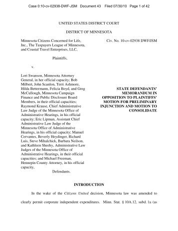 Minnesota Opposition to Motion for Preliminary Injunction