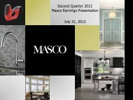 Second Quarter 2012 Masco Earnings Presentation July 31, 2012