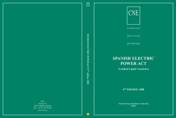 SPANISH ELECTRIC POWER ACT - Comisión Nacional de Energía