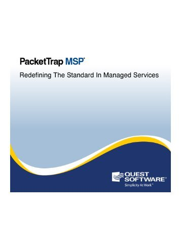PacketTrap MSP User's Guide - Communities - Quest Software