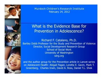 What is the Evidence Base for Prevention in Adolescence?