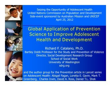 Global Application of Prevention Science to Improve Adolescent ...