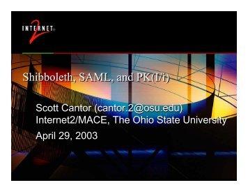 Shibboleth, SAML, and PK(I/i) - Internet2 Middleware Initiative