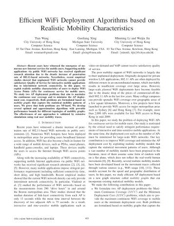 Efficient WiFi Deployment Algorithms based on Realistic Mobility ...