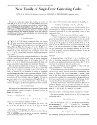 New Family of Single-Error Correcting Codes - IEEE Xplore