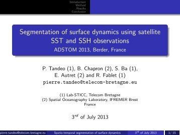 Segmentation of surface dynamics using satellite SST and SSH ...