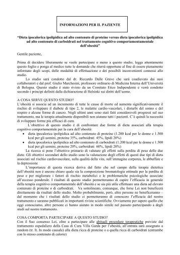 INFORMAZIONI PER IL PAZIENTE - Casa di cura Villa Garda