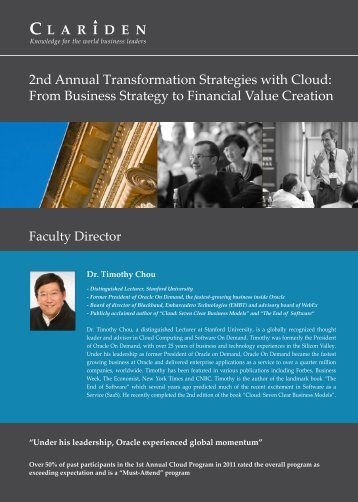 2nd Annual Transformation Strategies with Cloud ... - Clariden Global