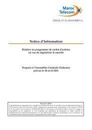 Notice d'Information - Relative au programme de ... - Maroc Telecom