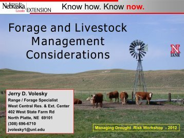Forage and Livestock Management Considerations