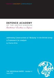 Addressing Constructions of 'Bullying' in the British Army - Defence ...