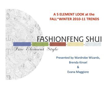A 5 ELEMENT LOOK at the FALL~WINTER 2010-11 TRENDS