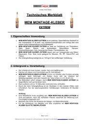 Technisches Merkblatt MEM MONTAGE-KLEBER EXTREM