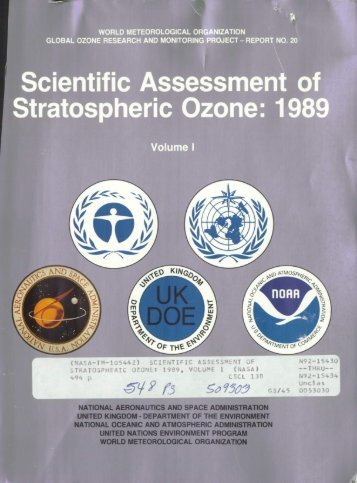 Scientific Assessment of Stratospheric Ozone: 1989 (Volume ... - NASA