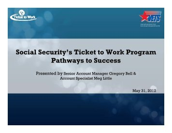 Social Security's Ticket to Work Program Pathways to Success
