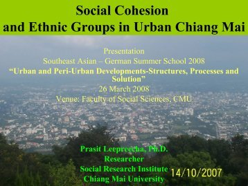 Social Cohesion and Ethnic Groups in Urban Chiang Mai - Forum for ...