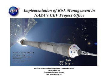 Implementation of Risk Management in NASA's CEV Project Office