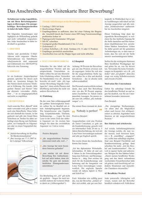 Page 1 Das Anschreiben Die Visitenkarte Ihrer Bewerbung