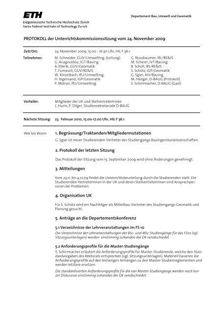 Sitzung 4/09 vom 24.11.09 - Departement Bau, Umwelt und Geomatik