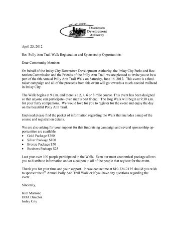 April 25, 2012 Re: Polly Ann Trail Walk Registration and ...