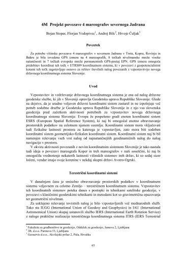 B. Stopar, F. Vodopivec, A. Bilc, H. Čuljak, 4M-Projekt povezave 4 ...