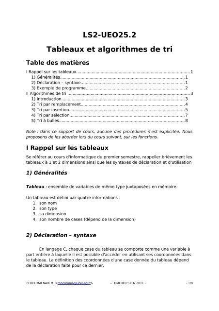 Ls2 Ueo25 2 Tableaux Et Algorithmes De Tri Table Des Lamia