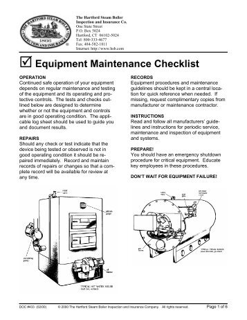 Equipment Maintenance Checklist - Hartford Steam Boiler