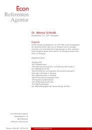 Dr. Helmut Schmidt - Econ Referenten-Agentur
