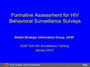 UCSF GSI Formative Assessment for Behavioral Surveillance Surveys