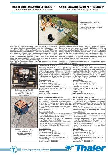 "Kabel-Einblassystem ""FIBERJET"" Cable ... - Jakob Thaler GmbH"
