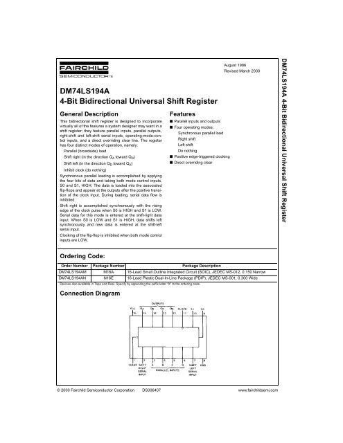 Dm74ls194a 4 Bit Bidirectional Universal Shift Register