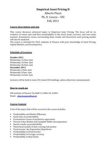 Empirical Asset Pricing II - Institute of Finance