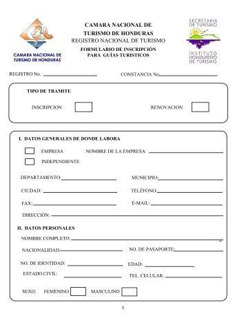 CAMARA NACIONAL DE TURISMO DE HONDURAS REGISTRO ...