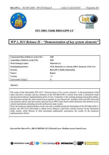 WP 1, D13 Release II - Markus Mu(e)ck's Home Page