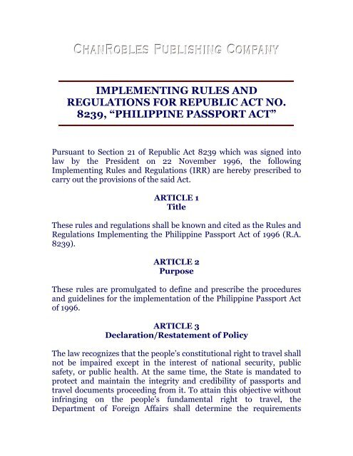 purpose of rules and regulations