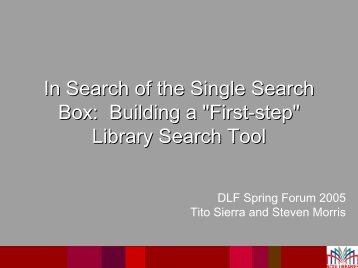 """In Search of the Single Search Box: Building a """"First-step ..."""