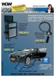Werkstatteinrichtung, Druckluft und Elektrotechnik, Fahrzeugzuu ...