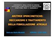 aritmie ipercinetiche: meccanismi e trattamento ... - Cuorediverona.it