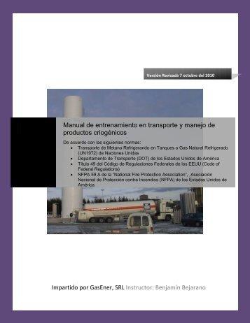 Manual de entrenamiento en transporte y manejo de ... - GasEner