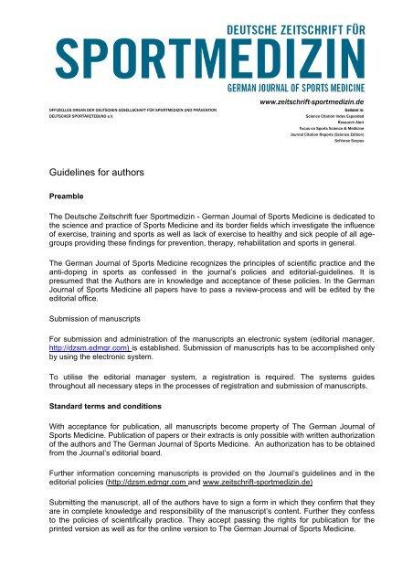 Author Guidelines - Deutsche Zeitschrift für Sportmedizin