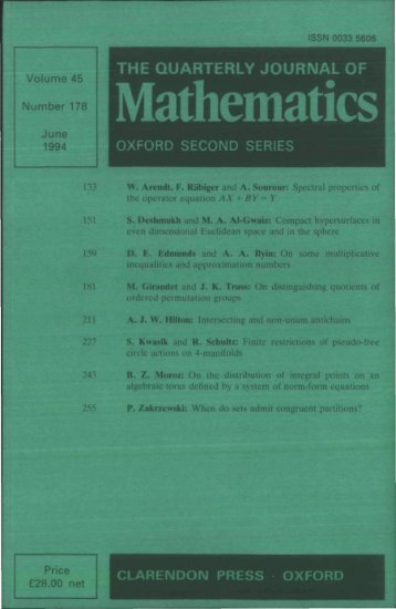 Front Matter (PDF) - Quarterly Journal of Mathematics